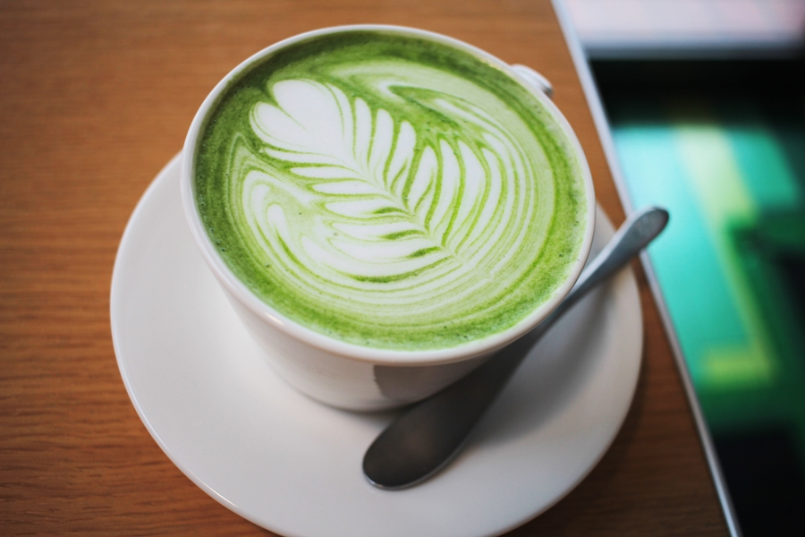 matcha tea art milk