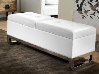 Banco dormitorio poli piel blanca