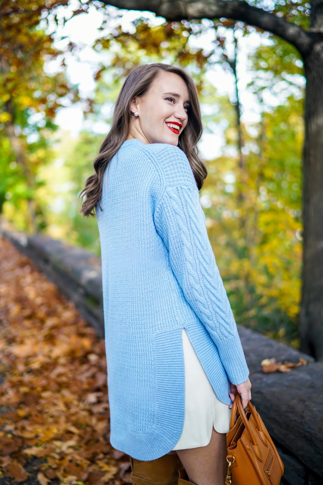 J. Crew Tunic Sweater, baby blue sweater, cable knit sweater