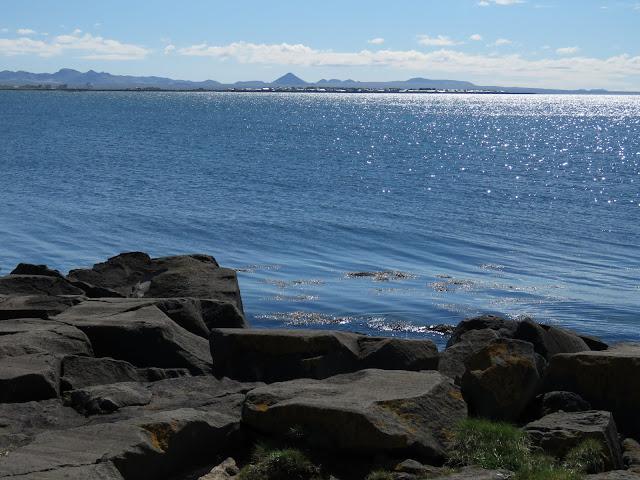 Sea views at Skerjafjörður on a walk in Reykjavik Iceland