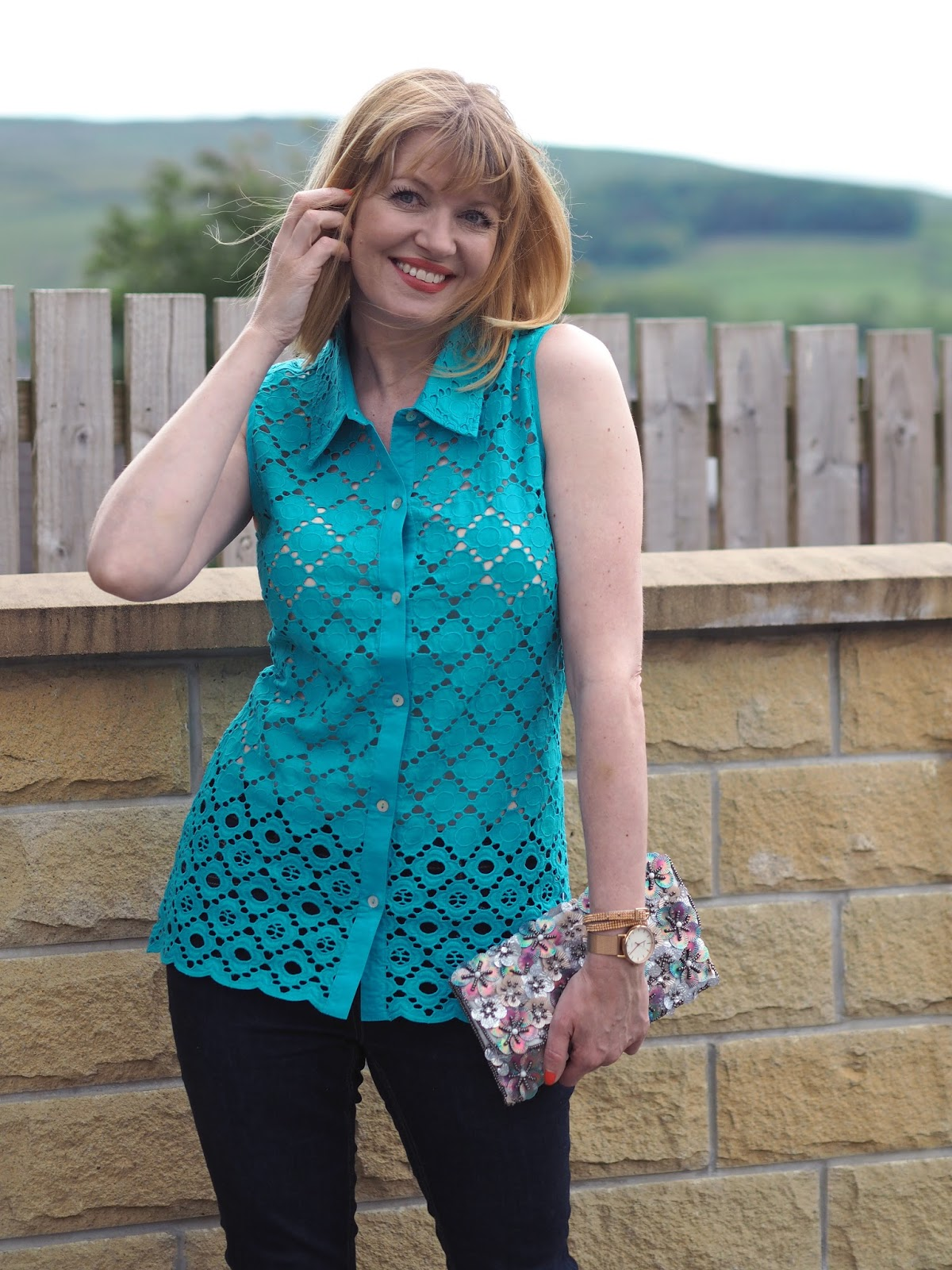 turquoise broderie top