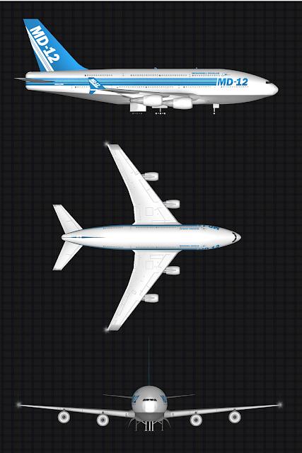 McDonnell Douglas MD-12 üç farklı görünüm.