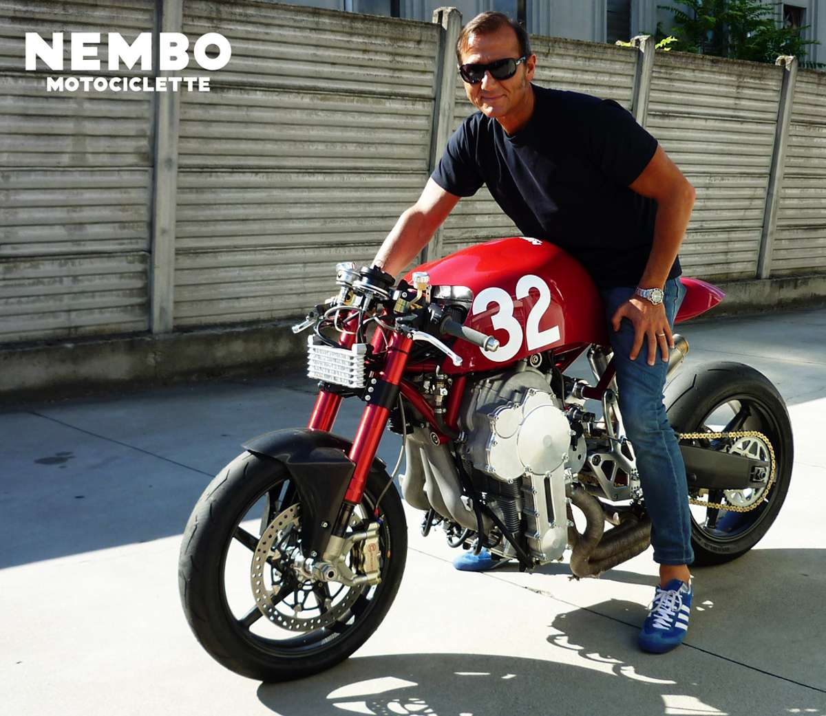 Daniele Sabatini with Nembo Motorcycle