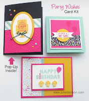 Stamp of the Month Club Card Kit featuring Party Wishes stamp set from 2016 Stampin' Up! Occasions Catalog Learn More at www.juliedavison.com/clubs #stampinup #birthday