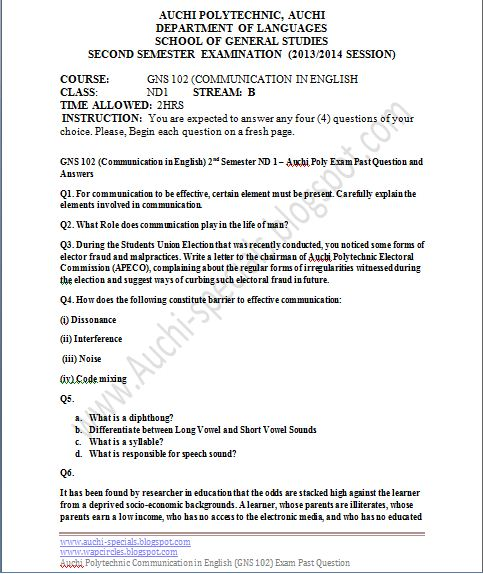 GNS 102 (Communication in English) 2nd Semester ND 1 – Auchi