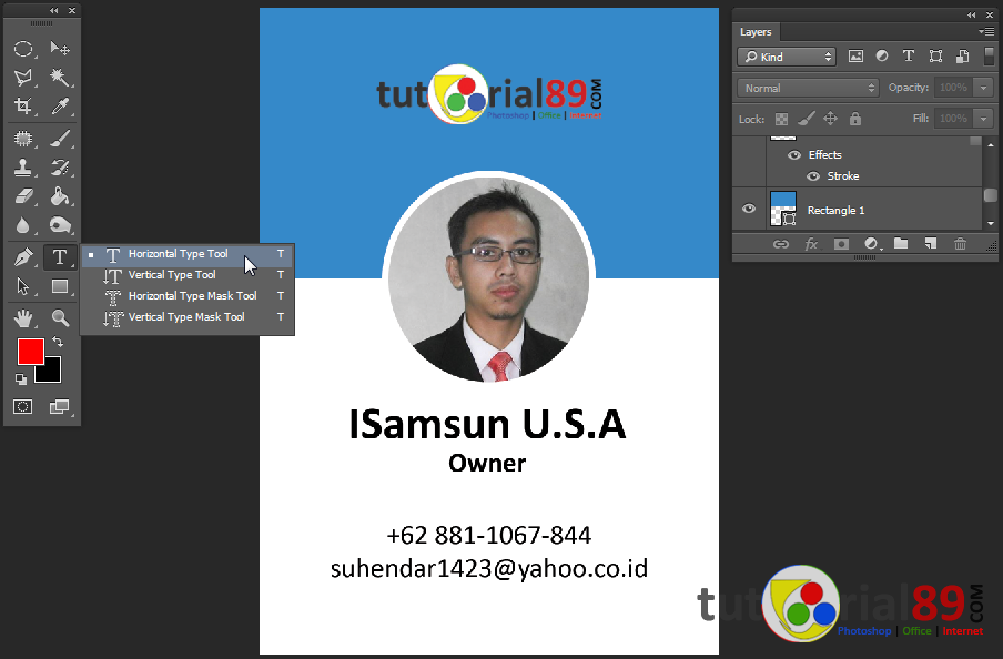 Cara mudah membuat ID card dengan photoshop + video & free