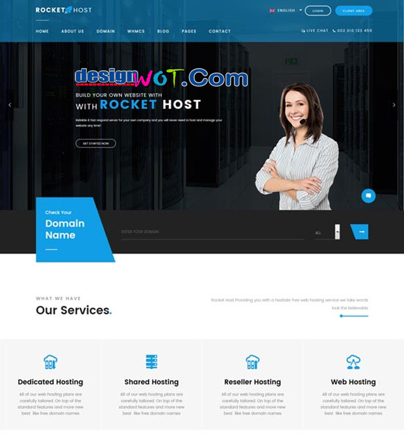 RocketHost Responsive Hosting WordPress Theme WHMCS