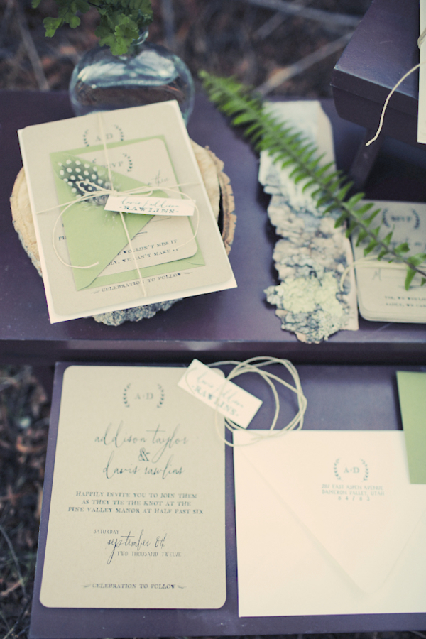 bride+groom+bridal+dress+gown+floral+hair+wreath+rustic+woodland+ecofriendly+eco+friendly+green+emerald+color+of+the+year+pantone+cake+dessert+table+reception+centerpiece+blue+hipster+fall+autumn+gideon+photography+27 - Woodland Fairytale