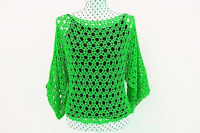 Blusa verde Majovel Crochet ganchillo1