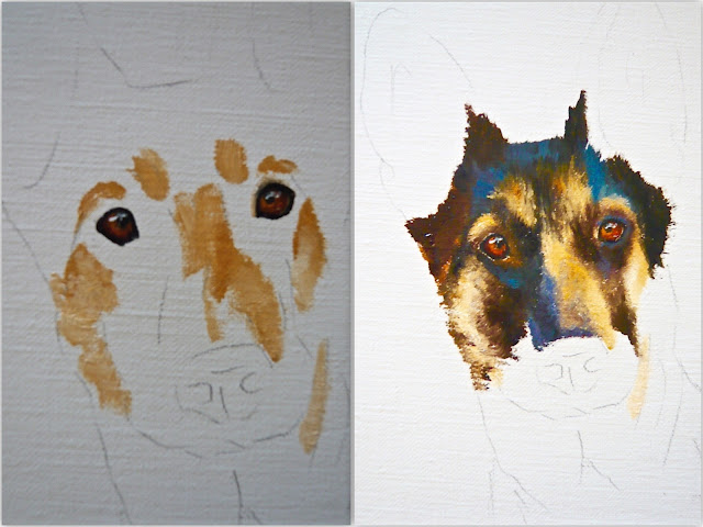 work-in-progress German Shepherd painting, dog painting by Karen Robinson