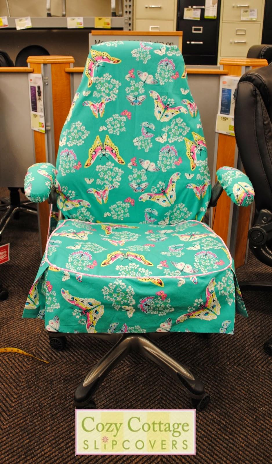 chair arm covers pattern game best buy cozy cottage slipcovers: butterfly office slipcover