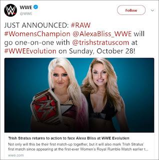 WWE Evolution - Alexa Bliss .vs. Trish Stratus Announced