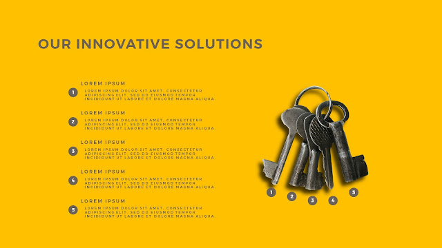 Innovative Solutions of 5 Keys Infographics Free PowerPoint Template