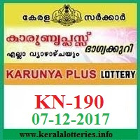 Karunya Plus KN-190 Lottery Result on 07.December, 2017