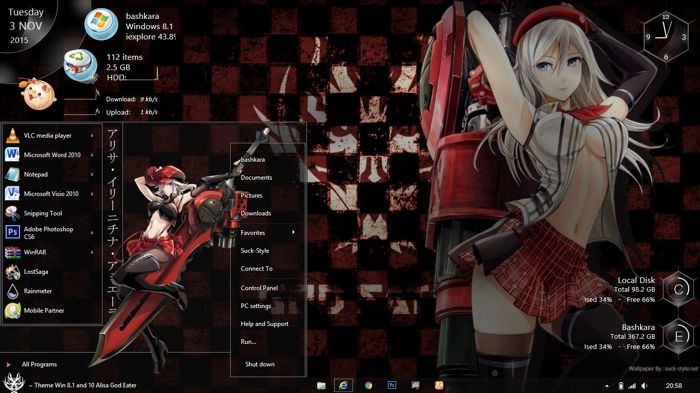 Anime theme windows gadget gallery.