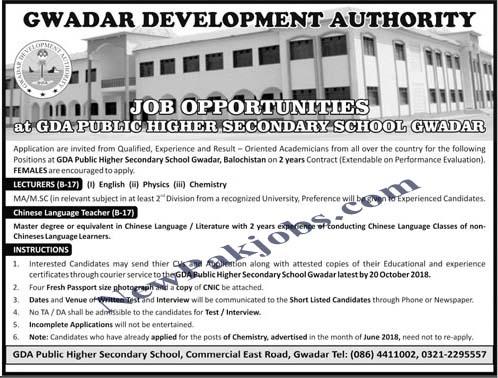 Recruitment in GDA Public Higer Secondary School Gwadar