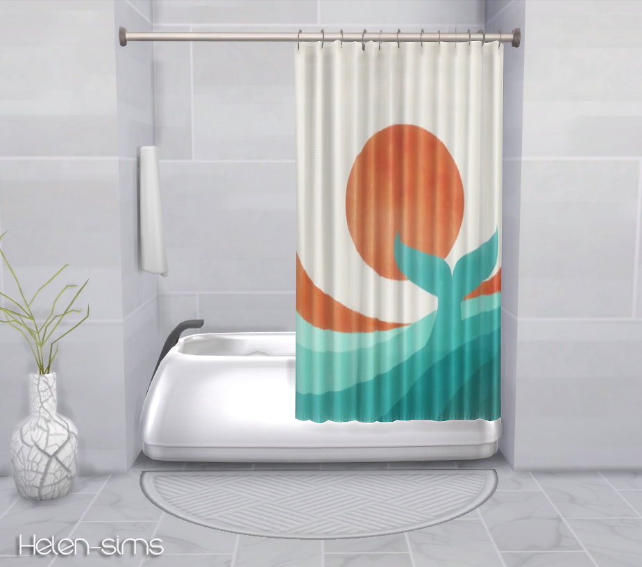 Helen Sims TS4 Recolors Plasticboxs Shower Tub Curtain