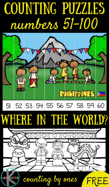 FREE Around the World Count to 100 Puzzles - this is such a fun kindergarten math activity for math centers, extra practice, homeschool to not only learn to count to 100, but also to learn abou The Philippines, Switzerland, Vietnam, New Zealand, china, and more!