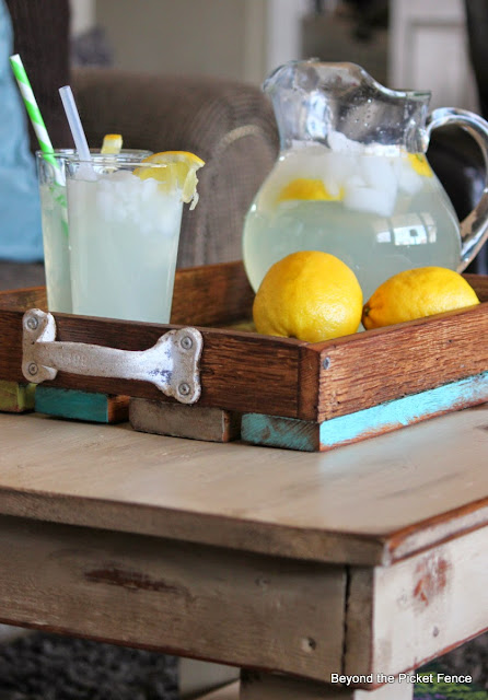 colorful tray made from reclaimed barn wood
