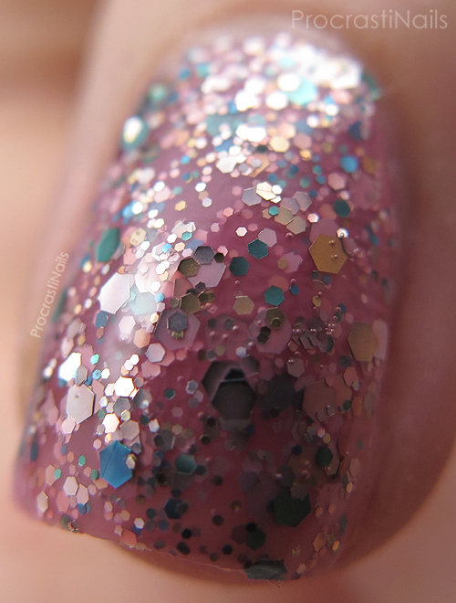 Macro of OPI More Than a Glimmer from the OPI 2013 Limited Edition Pink of Hearts Duo