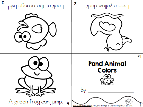 Colors and Kindergarten: My Science Journal: Pond Animals