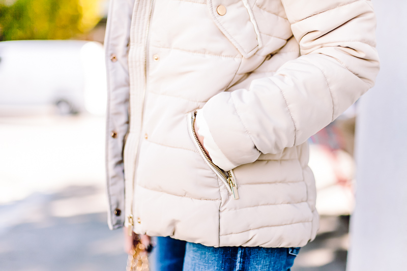 h&m cream padded jacket