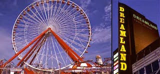 Picture of a Fairground Big Wheel and the Dreamland Sign in Margate