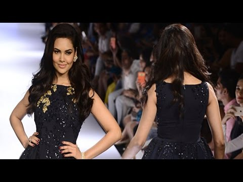 Esha Gupta in Designer Black Gown at Walks For Ridhi Mehra Show At LFW