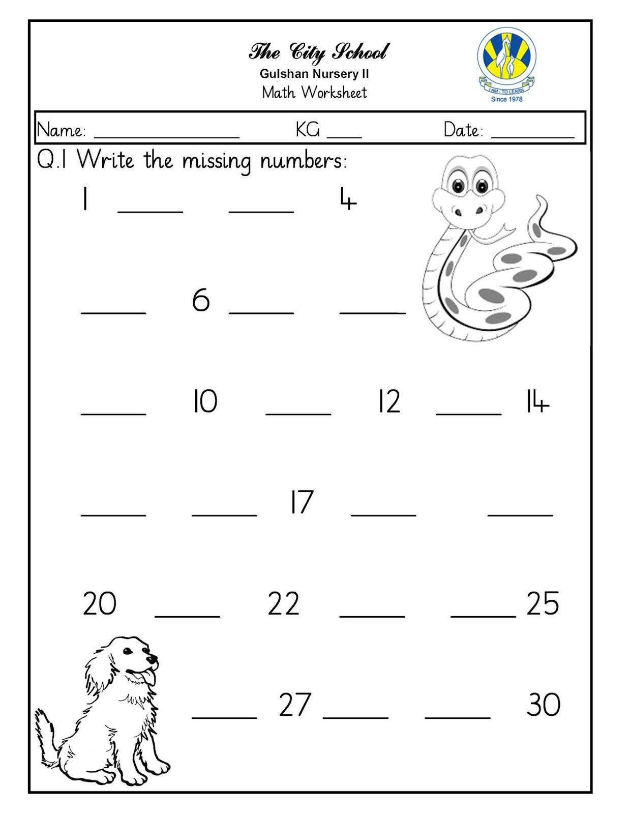 Sr Gulshan The City Nursery Ii Math Worksheets