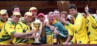 ICC Cricket World Cup 1999 Winner team Australia holding trophy