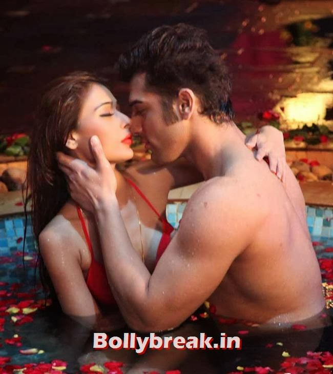 Sara Khan kissing images in red bikini in Midsummer Midnight Mumbai,  Sara Khan Bikini & kissing Pics - Midsummer Midnight Mumbai Movie