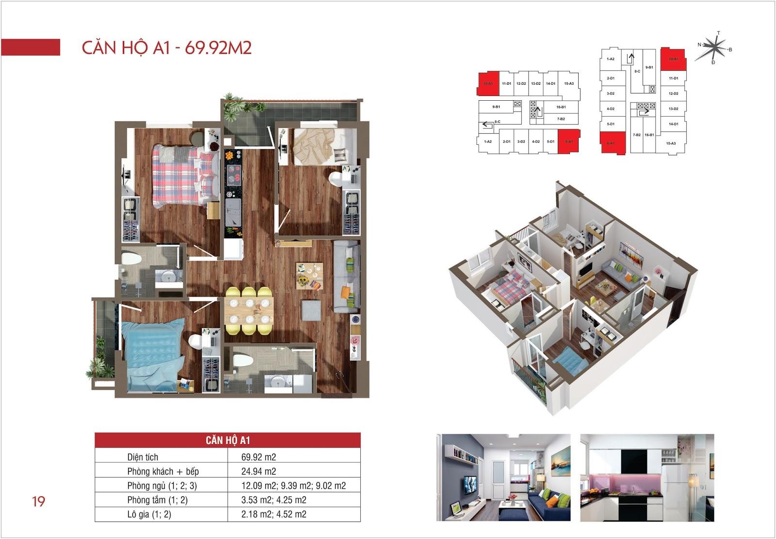 Căn hộ A1 - 69,92m2 chung cư Lộc Ninh Singashine