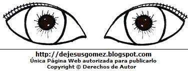 Ojos grandes con pestañas pequenas para colorear o pintar. Dibujo de ojos hecho por Jesus Gómez