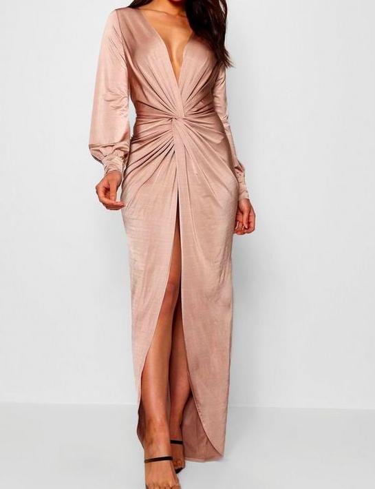 Twist Front Plunge Maxi Dress