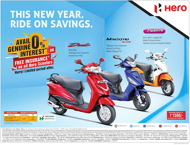 Zero (0) % interest or Free insurance on Hero Scooters | January 2017 festival discount offer