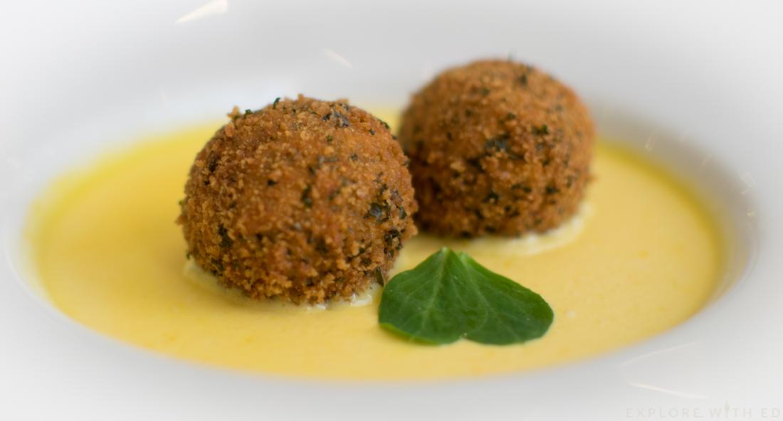 Crab bon bon with sweetcorn pannacotta, Coleg y Cymoedd Restaurants