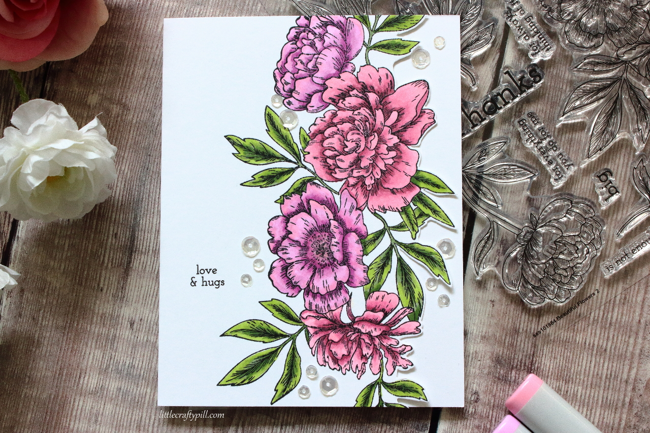 Little Crafty Pill Flower Edge Card Stamptember 2018 Party