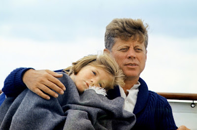 "Hyannisport Weekend. Caroline Kennedy, President Kennedy. Hyannisport, MA, aboard the ""Honey Fitz"". Photo by Cecil W. Stoughton, 1963"