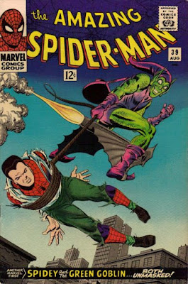 Amazing Spider-Man #39, Peter Parker is carried, bound and captive, by the Green Goblin, first cover by John Romita