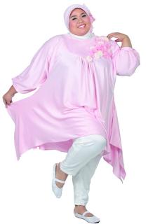 Baju Busana Muslim Wanita Gemuk Warna Pink Trend Terbaru