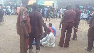 Alleged Thieves Got their Hairs shaved off after been caught in Kano 3