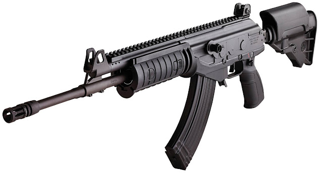 Image Attribute: Black Galil ACE rifle with adjustable, side-folding stock and Pictainny rails