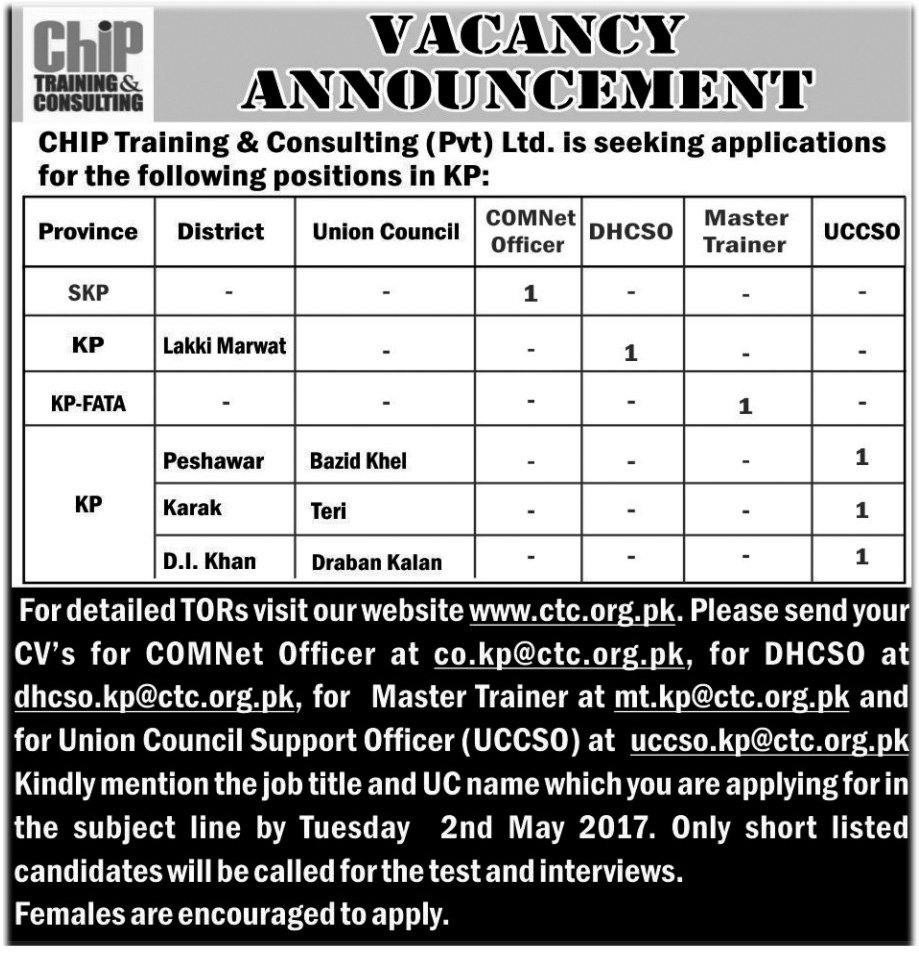 Jobs In Chip Training And Consulting Peshawar 29 Apr 2017