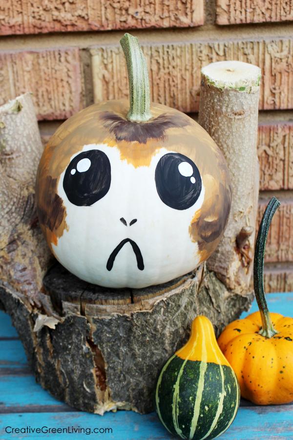 doodlecraft star wars porg halloween painted pumpkin. Black Bedroom Furniture Sets. Home Design Ideas