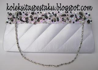 Handmade Tas Pesta Mewah Warna Silver Elegant