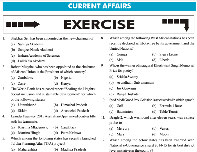 Current Affairs General Knowledge GK MCQs Exercises with