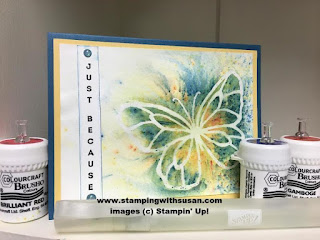 Stampin' Up! Brusho Watercolor Spritzer Petals & More Thinlits Petal Passion
