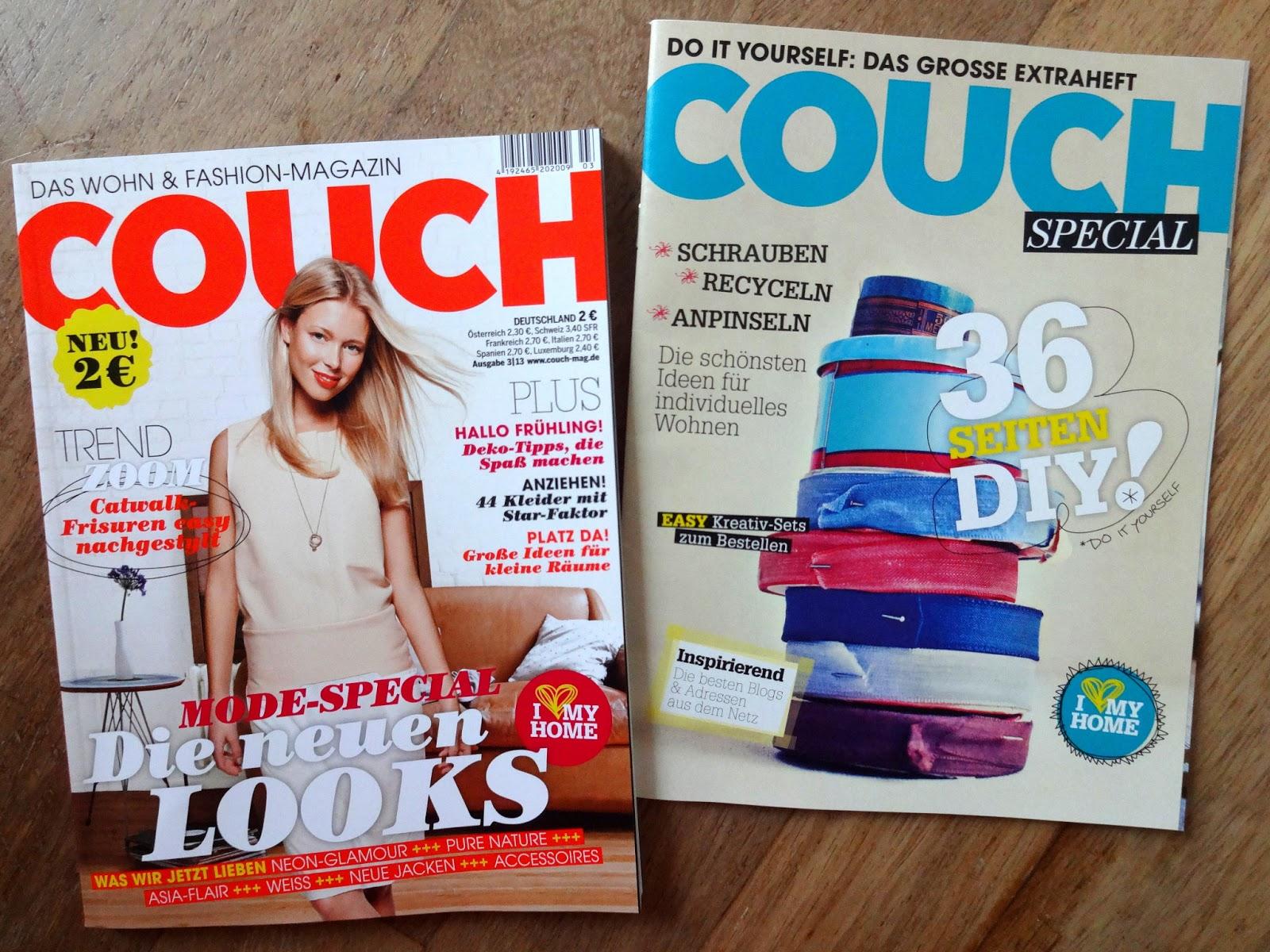 COUCH Mag Wohn und Fashopn Magazin Ausgabe März 2013 mit DIY-Special