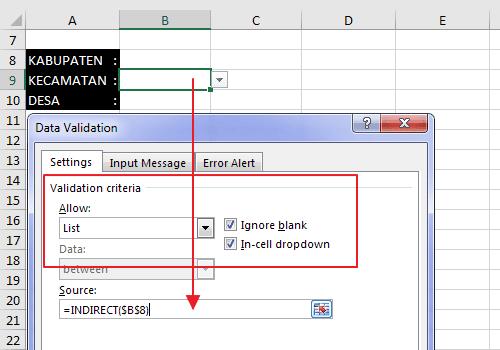 Dropdown list validasi tingkat kedua