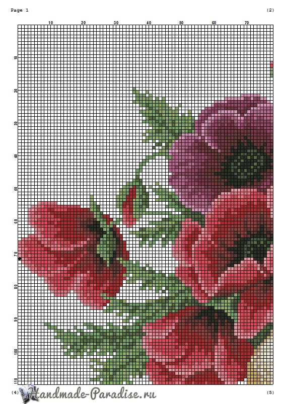 Красные маки - схемы вышивки крестом (3)